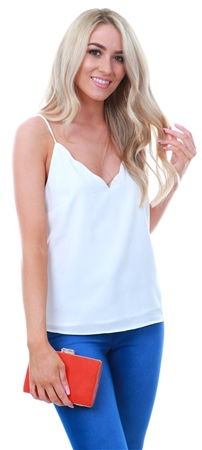 Glamorous White Plain Cami Top  - Click to view a larger image
