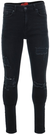 11degrees Black Essential Super Stretch Distressed Jean Skinny Fit  - Click to view a larger image