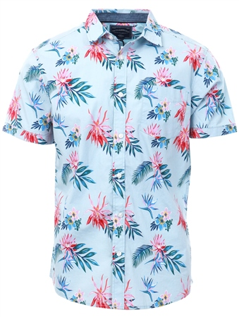 Tokyo Laundry Blue Floral Tropical Short Sleeve Shirt  - Click to view a larger image