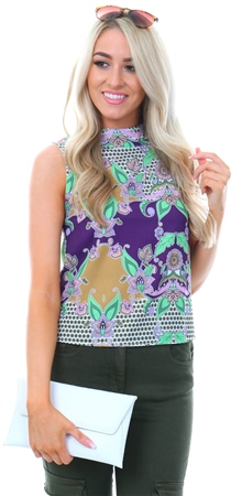 Glamorous Purple Ochre Print Sleeveless Top  - Click to view a larger image
