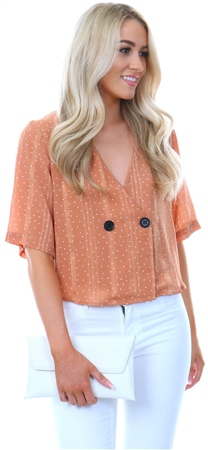 Glamorous Mocha Spot Button Short Sleeve Top  - Click to view a larger image