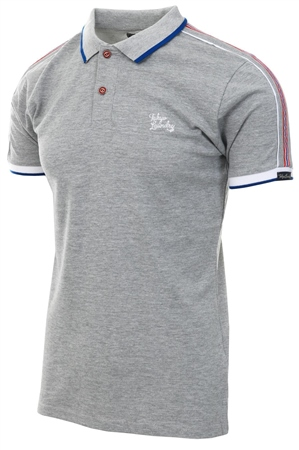 Tokyo Laundry Grey Finley Polo Shirt With Tape Detail  - Click to view a larger image