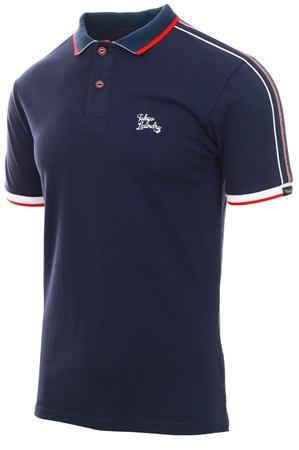 Tokyo Laundry Navy Finley Polo Shirt With Tape Detail  - Click to view a larger image