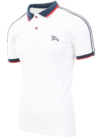 Tokyo Laundry White Finley Polo Shirt With Tape Detail  - Click to view a larger image