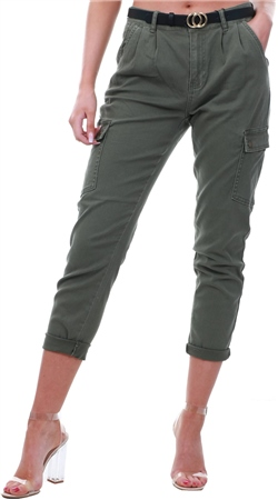 Noisy May Olive Relaxed Fit Cargo Pants  - Click to view a larger image