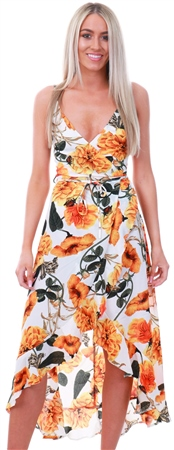 Ax Paris Orange Floral Strappy Midi Dress  - Click to view a larger image