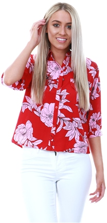 Influence Red Pink Floral Print Shirt  - Click to view a larger image