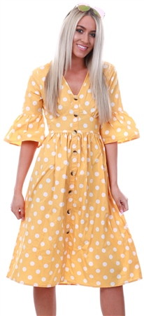 edf24df9c0633f Influence Yellow Polka Dot Button Midi Dress - Click to view a larger image