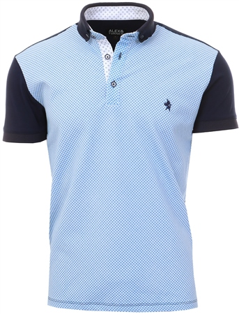 Alex & Turner Navy Blue Pattern Polo Shirt  - Click to view a larger image