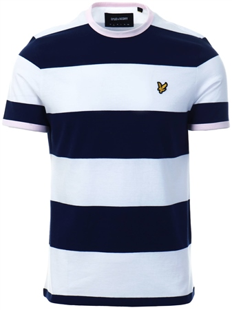Lyle & Scott Navy Wide Stripe Ringer T-Shirt  - Click to view a larger image
