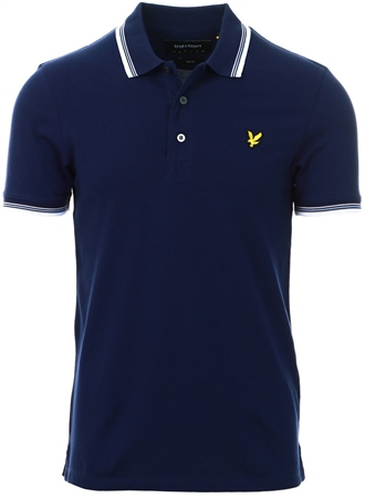 Lyle & Scott Navy Tipped Slim Stretch Polo Shirt  - Click to view a larger image
