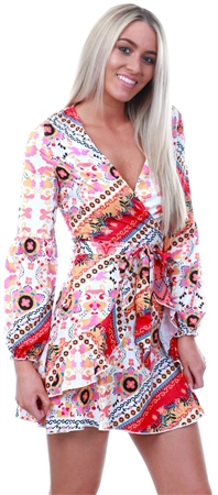 Parisian Floral Scarf Print Wrap Mini Dress  - Click to view a larger image