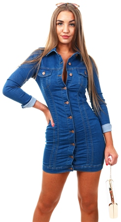 Parisian Blue Denim Button Front Long Sleeve Dress  - Click to view a larger image