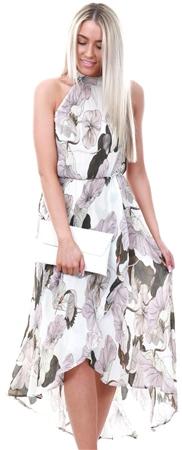 Ax Paris Cream Pleated Halterneck Midi Dress  - Click to view a larger image