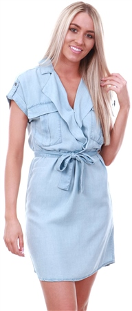 Noisy May Blue / Light Blue Denim Short Sleeved Shirt Dress  - Click to view a larger image