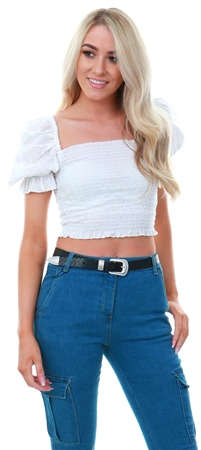 Qed White Ruffled Square Neck Top  - Click to view a larger image