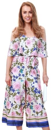 Lexie & Lola Floral Pattern Culotte Jumpsuit  - Click to view a larger image