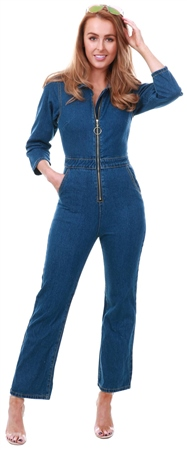 Dv8 Blue Denim Zip Up Flare Jumpsuit  - Click to view a larger image