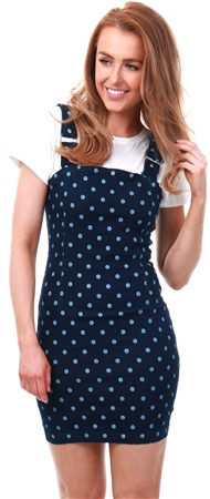 Dv8 Polka Dot Denim Pinafore Dress  - Click to view a larger image