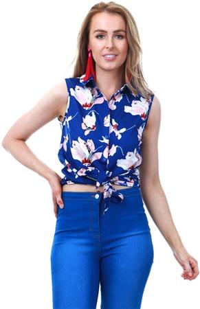 Brave Soul Blue Mintie Floral Crop Shirt  - Click to view a larger image