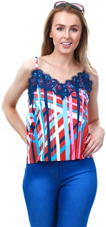 Lexie & Lola Red Lace Pattern Cami Top  - Click to view a larger image