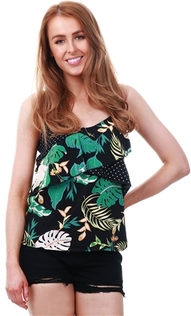 Only Disco Jungle Lima Flounce Singlet Top  - Click to view a larger image