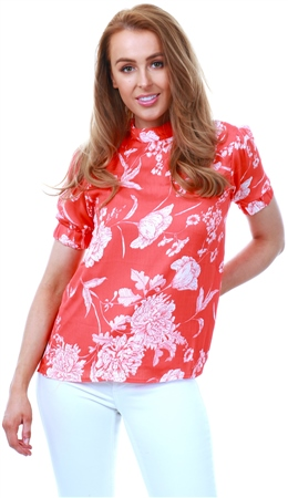 Fashion Union Coral / Red Floral Top  - Click to view a larger image