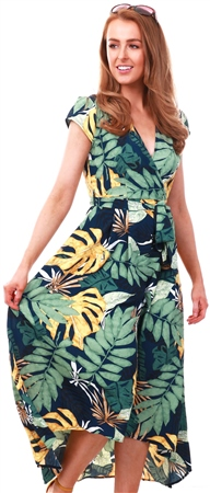 Ax Paris Navy Navy Floral Print Dress  - Click to view a larger image