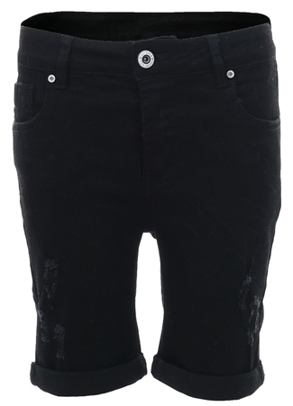 Kings Will Dream Black Distressed Denim Shorts  - Click to view a larger image