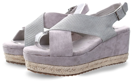 Xti Grey Suede Wedge Sandal  - Click to view a larger image