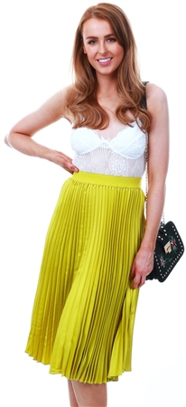 Lexie & Lola Lime Green Crinkle Midi Skirt  - Click to view a larger image
