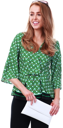 Lexie & Lola Green Reena Geo Print Drape Top  - Click to view a larger image
