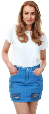 Dv8 Blue Denim Ripped Skirt  - Click to view a larger image
