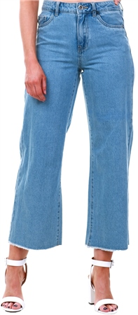 Only Medium Blue Denim Wide Ankle Jeans  - Click to view a larger image
