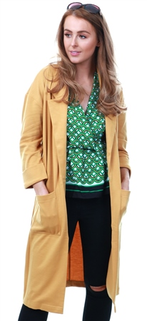 Brave Soul Mustard Paulina Duster Jacket  - Click to view a larger image
