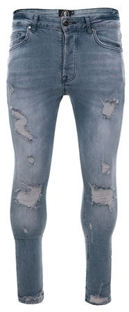 Gym King Light Wash Blue Skinny Denim Jean Rip And Repair  - Click to view a larger image