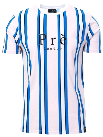 Pre London Pink/Blue Stripe Short Sleeve T-Shirt  - Click to view a larger image