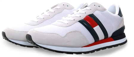 Hilfiger Denim White /Navy Logo Trainer  - Click to view a larger image