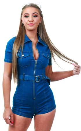 Parisian Denim Zip Front Short Sleeve Stretch Denim Playsuit  - Click to view a larger image