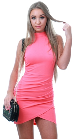 Ax Paris Coral Bodycon High Neck Ruched Dress  - Click to view a larger image