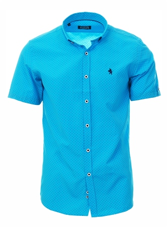 Alex & Turner Turquoise Paisley Print Short Sleeve Shirt  - Click to view a larger image