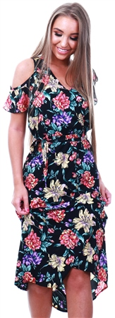 Style London Multi Cold Shoulder Floral Print Dress  - Click to view a larger image