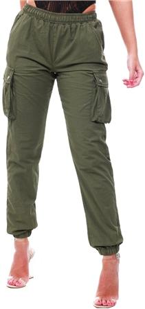 Parisian Khaki Elasticated Waist Cargo Trouser  - Click to view a larger image
