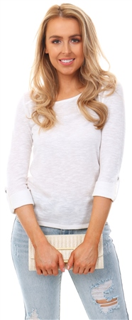 Only Cloud Dancer Jess Loose 3/4 Sleeve Crew Top  - Click to view a larger image