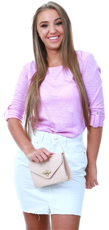 Only Orchid Jess Loose 3/4 Sleeve Crew Top  - Click to view a larger image