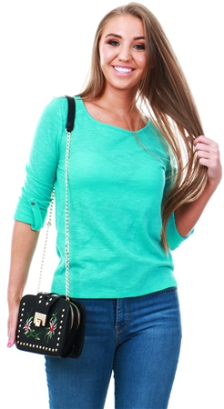 Only Pool Blue Jess Loose 3/4 Sleeve Crew Top  - Click to view a larger image