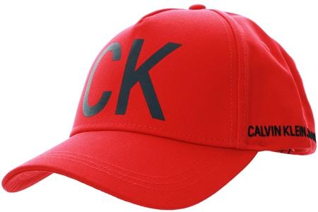Calvin Klein Red Cotton Baseball Cap  - Click to view a larger image