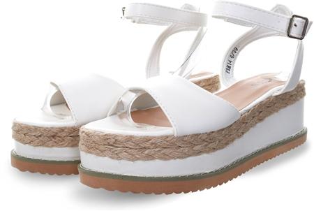 No Doubt White Pu Platform Sandal  - Click to view a larger image