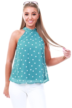 Vila Oil Blue Dotted Halterneck Top  - Click to view a larger image