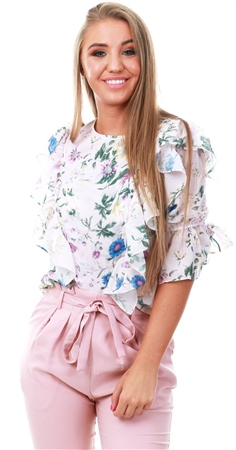 Style London Cream Floral Print Top  - Click to view a larger image